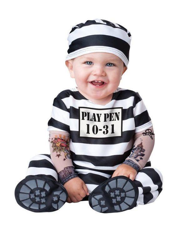 Baby's Jailbird Convict Prison Inmate Costume