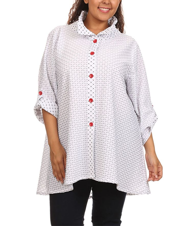 Loving this White Back-Zip Swing Button-Up Top - Plus on #zulily! #zulilyfinds