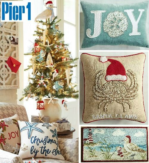 Coastal Beach Christmas at Pier 1... http://www.completely-coastal.com/2016/11/coastal-beach-nautical-christmas-online-shopping.html