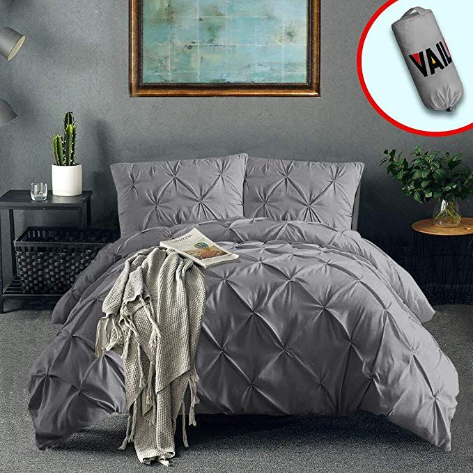 Amazon Com Vailge 3 Piece Pinch Pleated Duvet Cover With Zipper Closure 100 120gsm Microfiber Pintuck Duv Pintuck Duvet Cover Duvet Cover Sets Pintuck Duvet