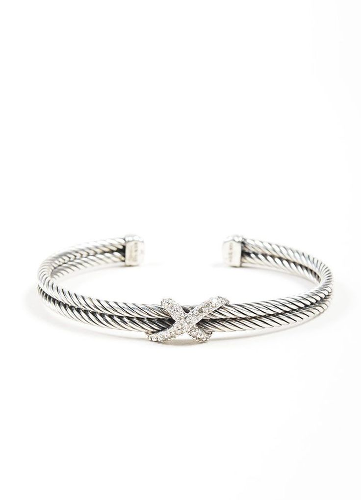 Sterling Silver and Diamond David Yurman 'X' Double Cable Bracelet