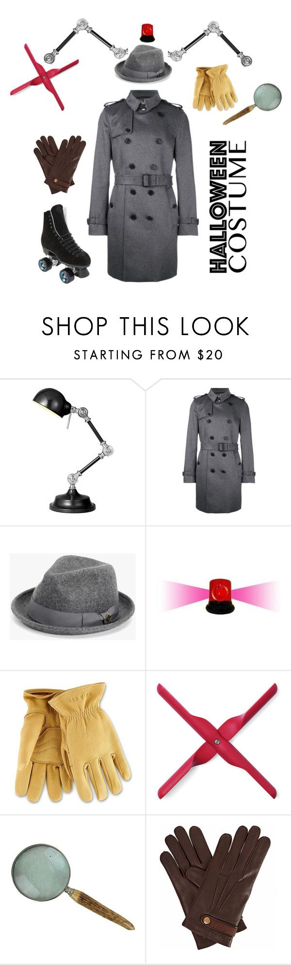 """Costume: TV: Inspector Gadget"" by rebeccalange ❤ liked on Polyvore featuring Burberry, 7 For All Mankind, POLICE, Red Wing, Menu, Gizelle Renee, Riedell, halloweencostume and DIYHalloween"
