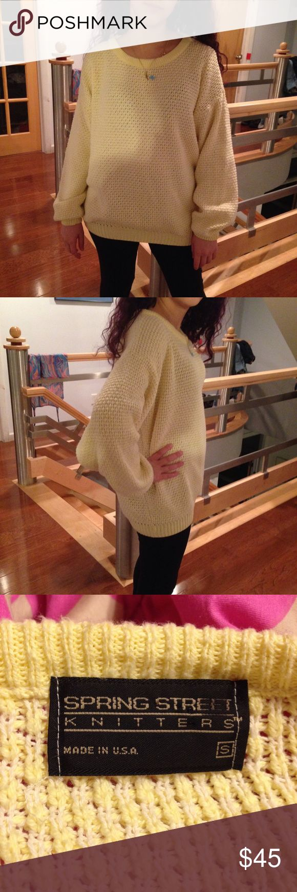 Vintage pastel yellow oversized grandpa sweater Super soft and comfortable oversized vintage grandpa sweater. Lovely pastel yellow, perfect for spring. Really similar to the American apparel fisherman pullover jumper! Honestly think this is softer and looser fitting though. Tag size S. I am a size S/M for reference. Can probably fit up to a L. American Apparel Sweaters Crew & Scoop Necks