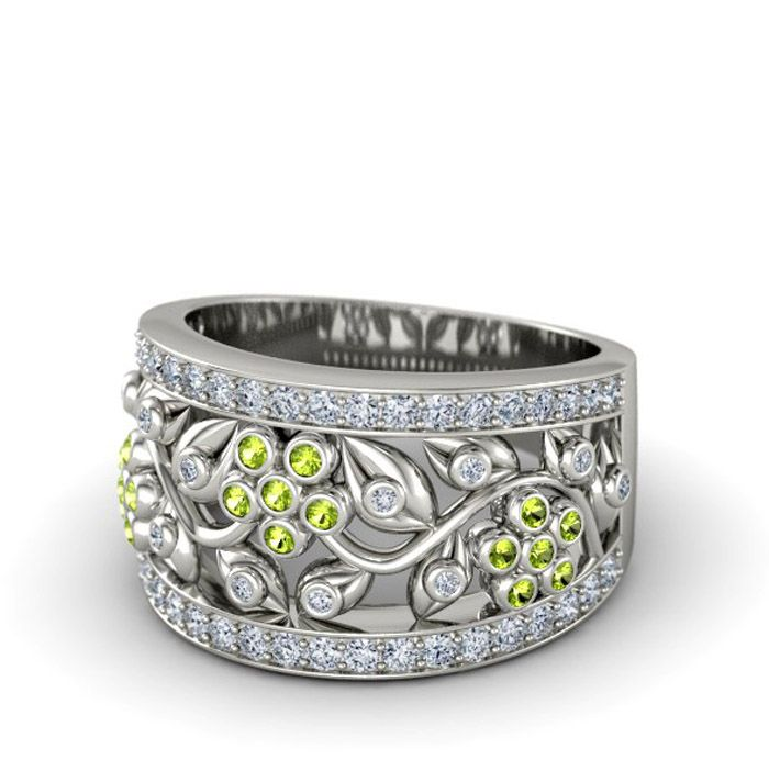 DAISY CHAIN RING - 14k white gold / peridots &  diamonds Peridot is my birthstone, and this ring is beautiful. Can I have money now so I can have it?