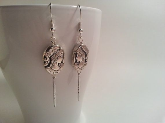 Greek Goddess earrings with a feather charm by HadesLadies on Etsy