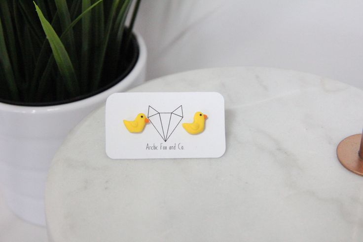 Handmade duck polymer clay earrings