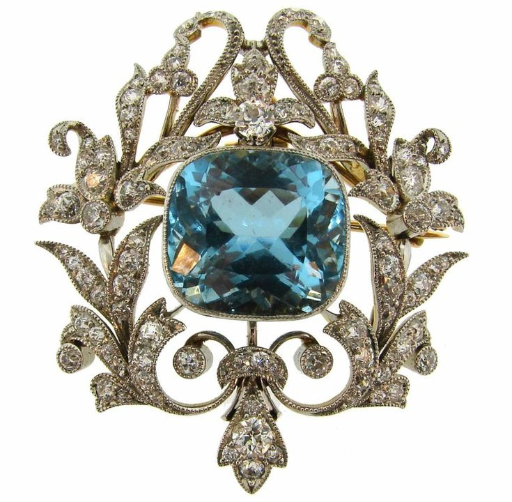 Black, Starr and Frost Aquamarine Diamond Platinum Gold Pendant Pin Brooch | From a unique collection of vintage brooches at https://www.1stdibs.com/jewelry/brooches/brooches/