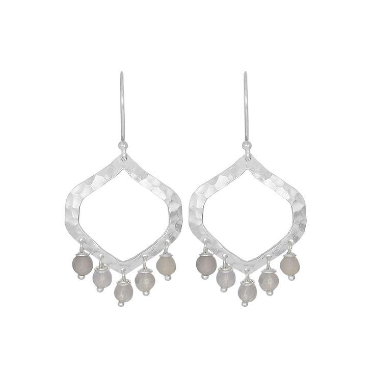 Nicole Fendel Allegra Beaded Earrings - Silver/Smokey Quartz