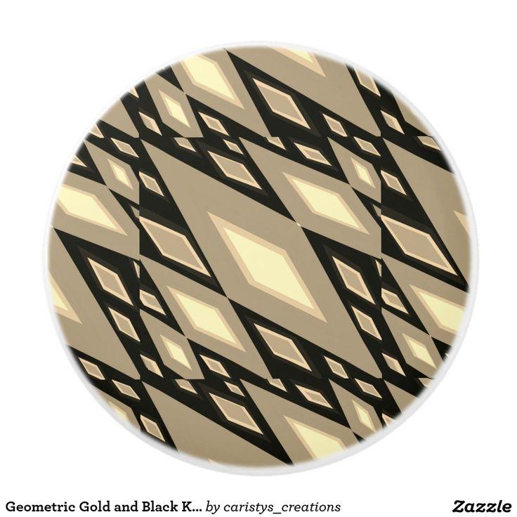 Geometric Gold and Black Knobs and Pulls Ceramic Knob