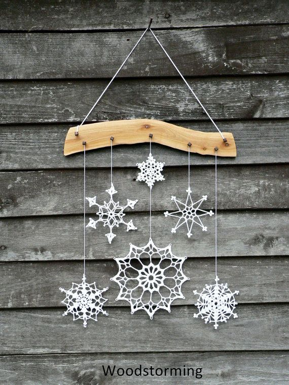 Holiday decoration - crochet snowflake and wood ornament for cozy home