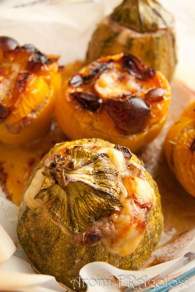 Zucchine e peperoni ripieni di carne