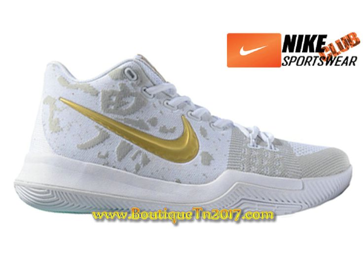 Nike Kyrie 3 Chaussures de Basketball Pas Cher Pour Homme Blanc Or kyrie 3 nike