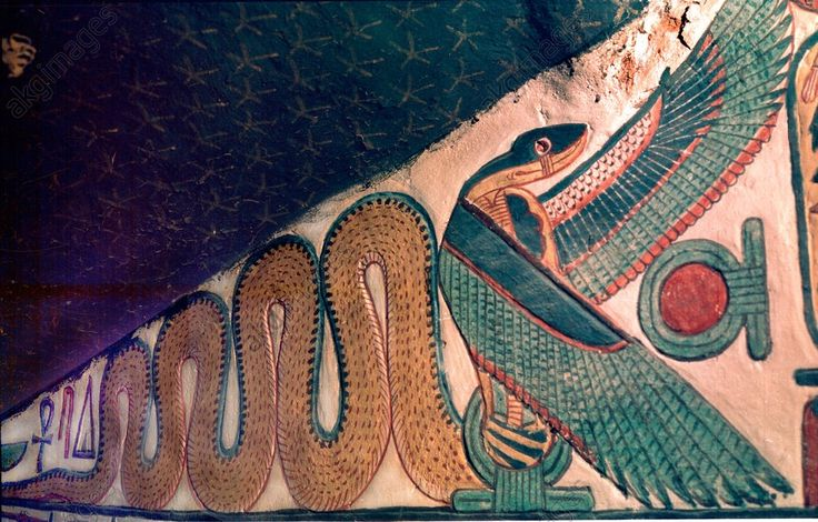 Painting of a winged cobra from the staircase leading to the burial chamber of Queen Nefertari. It is offering protection to a shen sign, symbol of infinity. Country of Origin: Ancient Egypt Culture: Ancient Egyptian Date / Period: New Kingdom, 18th Dynasty, 1290 – 1254 BC. Place of Origin: Western Thebes, valley of the Queens.