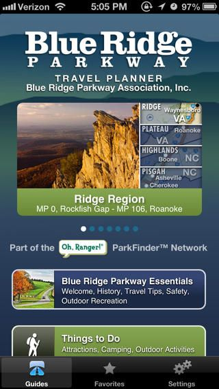 "The Blue Ridge Parkway Travel Planner App by BRPA is free! ""America's Favorite Drive"" at your fingertips! 469 miles of scenic places, historic sites, trails, overlooks, interpretive exhibits, visitor centers, lodging, services, and essential information."