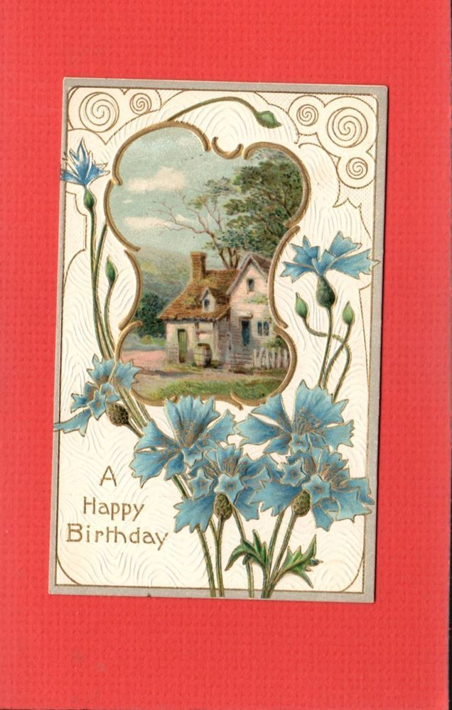 Art Nouveau Postcard Happy Birthday Pastoral Cartouche Carnations Ebay Art Art Nouveau Happy Birthday