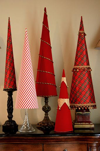 fabric covered poster board tree cones: Trees Cones, Posters Boards, Scrapbook Paper, Cones Trees, Christmas Decor, Christmas Trees, Christmas Ideas, Diy Christmas, Fabrics Covers