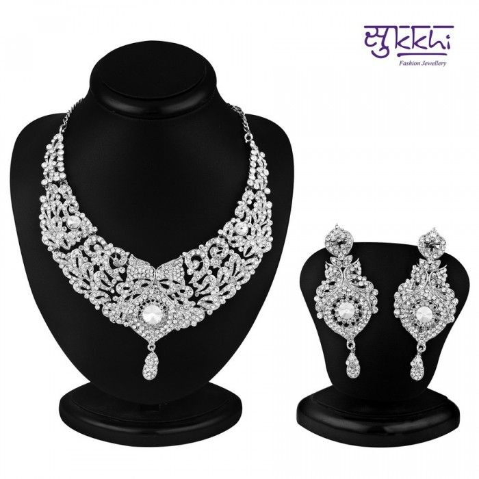 Delightful Rhodium Plated AD Stone Necklace Set | High5Store.com