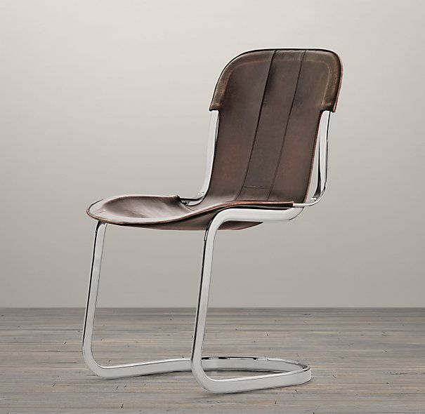 RHu0027s Rizzo Leather Side Chair:The Warmth Of Hand Distressed Leather And The  Coolness Of Metal Play Counterpoint In This Chair Inspired By Italian  Design.
