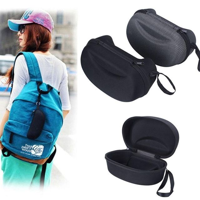 Mesh Zipper Gafas de Sol caja de la Caja Bolso Duro de Esquí de Invierno Moto Gafas Gafas de Caja de Los Vidrios de Caso Protector