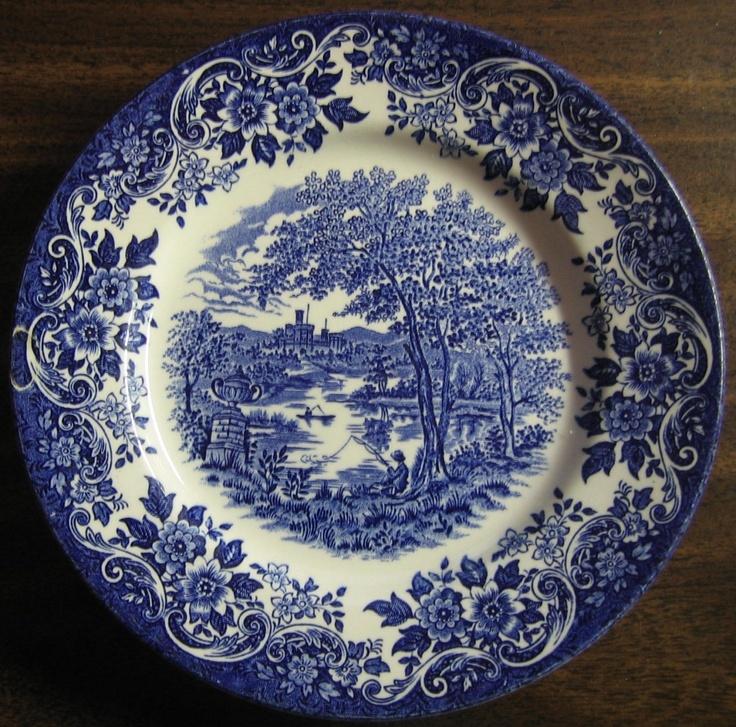 Decorative Dish - Blue Toile Transfeware Thatched Cottage Horse Stream. Blue DishesWhite DishesChina ... & 206 best blue white porcelain plates images on Pinterest | White ...