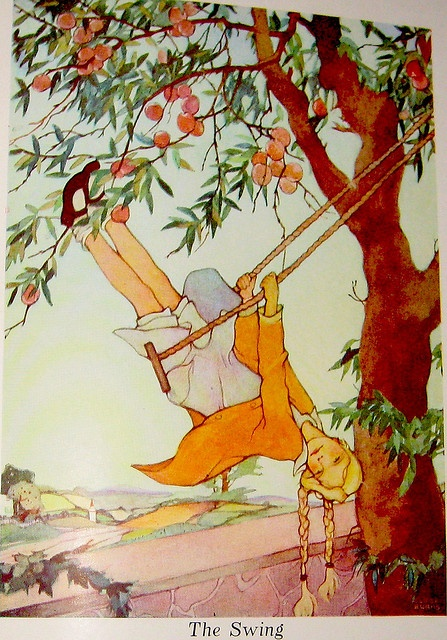 """""""The Swing"""" - From """"A Child's Garden of Verses"""" by Robert Louis Stevenson, illustrated by Eloise Burns (1930)"""