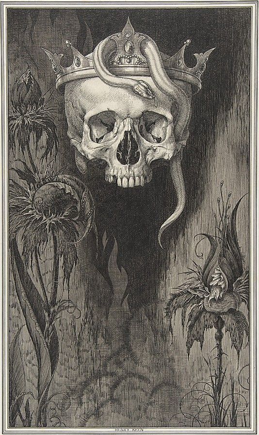 Henry Weston Keen (British, 1871–1935). Skull Crowned with Snakes and Flowers, for the Duchess of Malfi and the White Devil by John Webster, 1918–35. The Metropolitan Museum of Art, New York. The Elisha Whittelsey Collection, The Elisha Whittelsey Fund, 1967 (67.803.12) #skull #Halloween