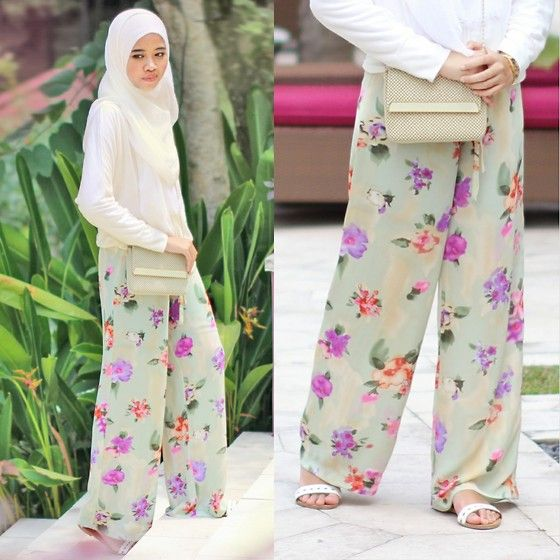 Hijabi fashion. Floral bottoms
