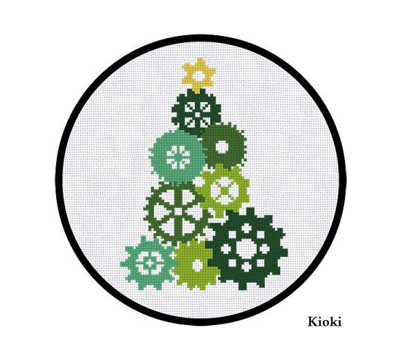 Cross Stitch Pattern Gear Christmas Tree Instant Download