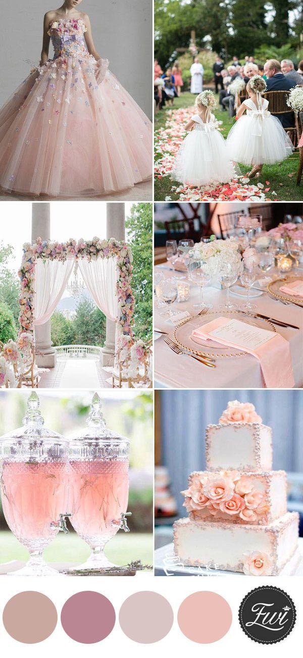 elegant peach with floral summer wedding color ideas