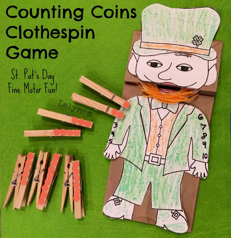 St. Patrick's Day Clothespin Counting Game from Lalymom