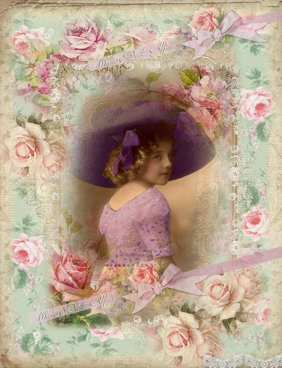 Digital collage sheet, vintage, Imaginations 70, instant download, backgrounds - cards - tags - scrapbooking