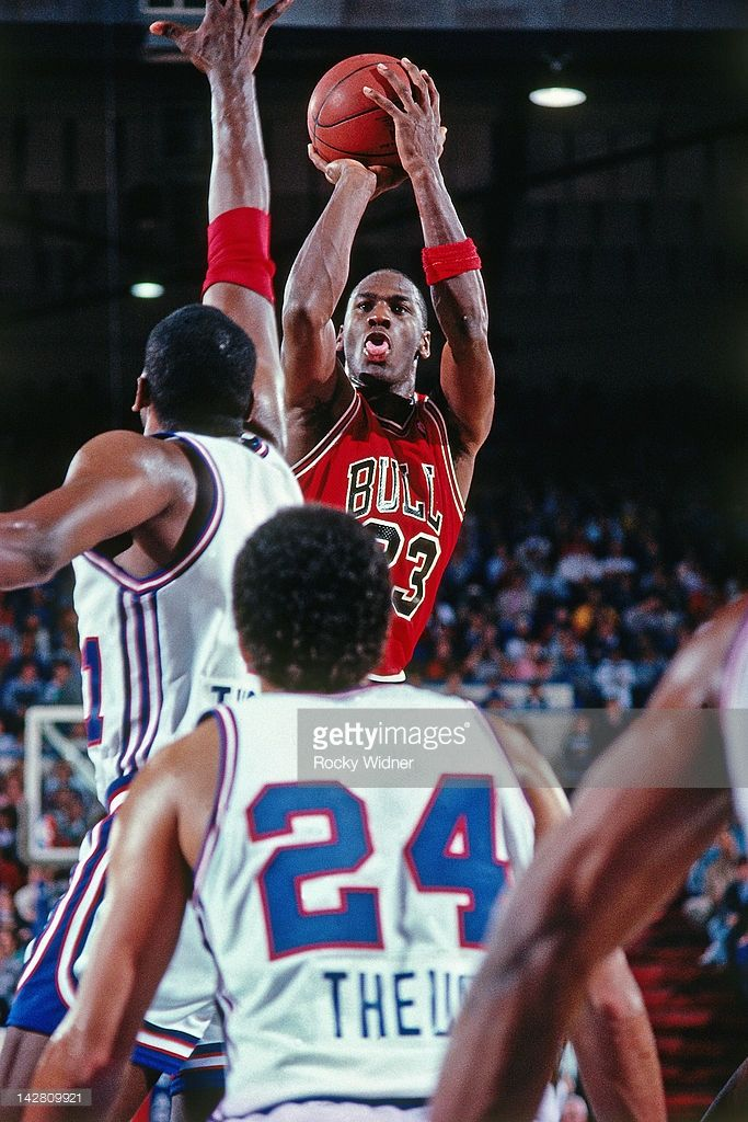 Michael Jordan #23 of the Chicago Bulls shoots against the Sacramento Kings during a game played on February 1, 1988 at the Arco Arena in Sacramento, California.