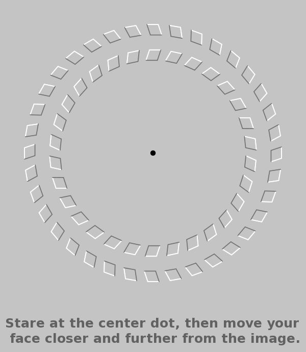 Move your face closer to the image while still looking at the dot. The wheels seem to move from the corner of your  eye