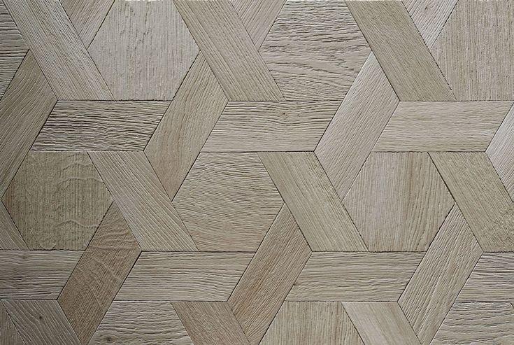 Parquet tapis hexagone en chêne, aspect naturel gris - Variation autour des parquets tapis hexagone - n°883