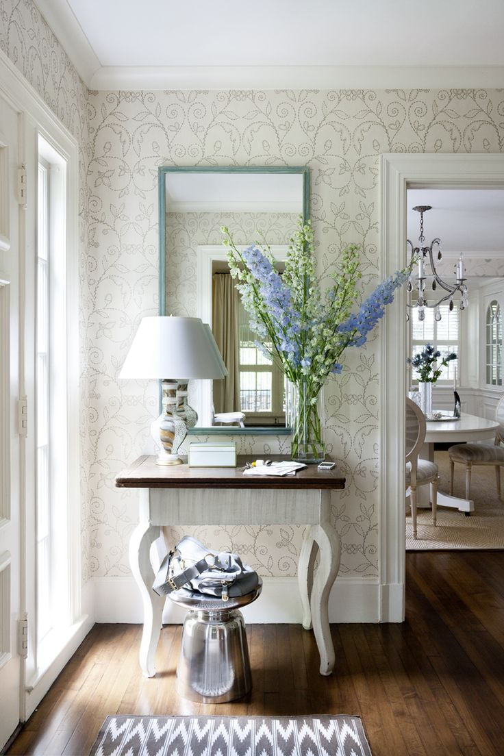 laura wilmerding interiors love this vignette the floors wallpaper table flowers light all of it