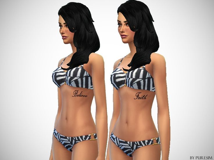 2 upper rib tattoos : Believe and Faith  Found in TSR Category 'Sims 4 Female Skin Details'