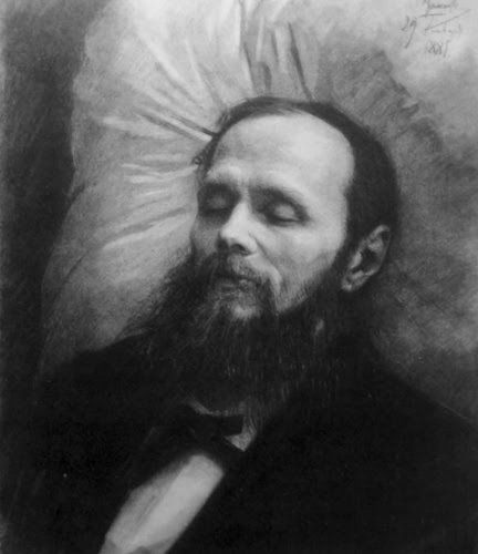 Deathbed Dostoyovsky, ironically, smiling....I know a Secret!!!!