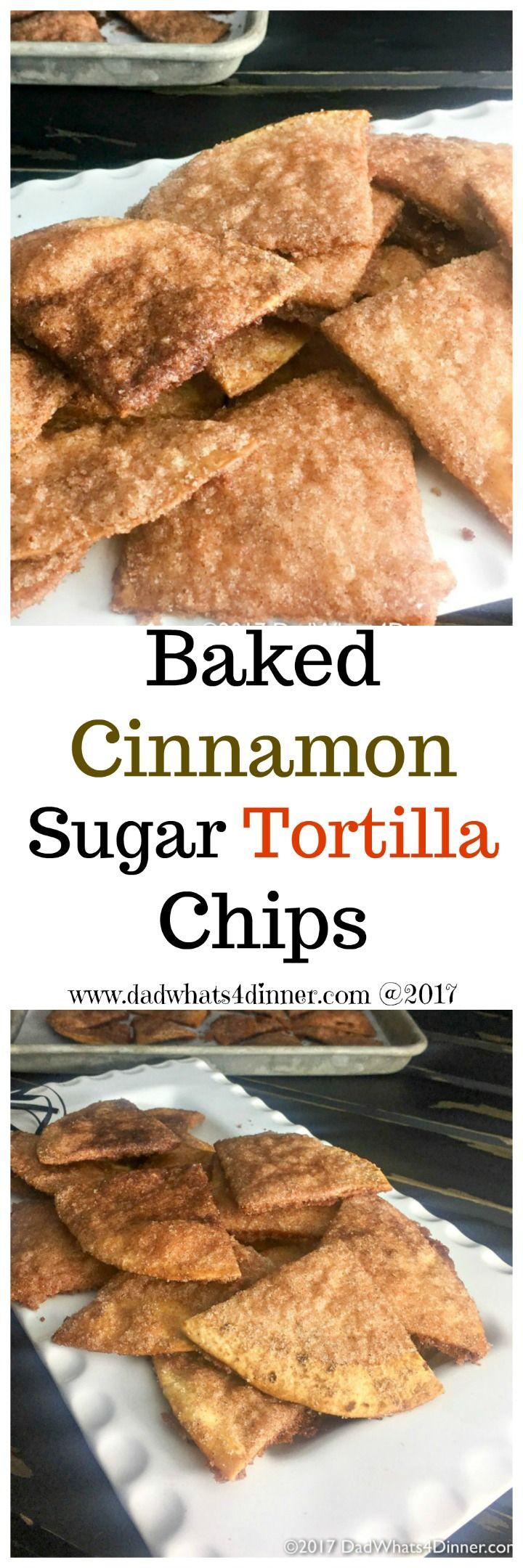 Baked Cinnamon Sugar Tortilla Chips is a healthier version of the Mexican restaurant classic. A great recipe to get your kids started in the kitchen.  via @dadwhats4dinner