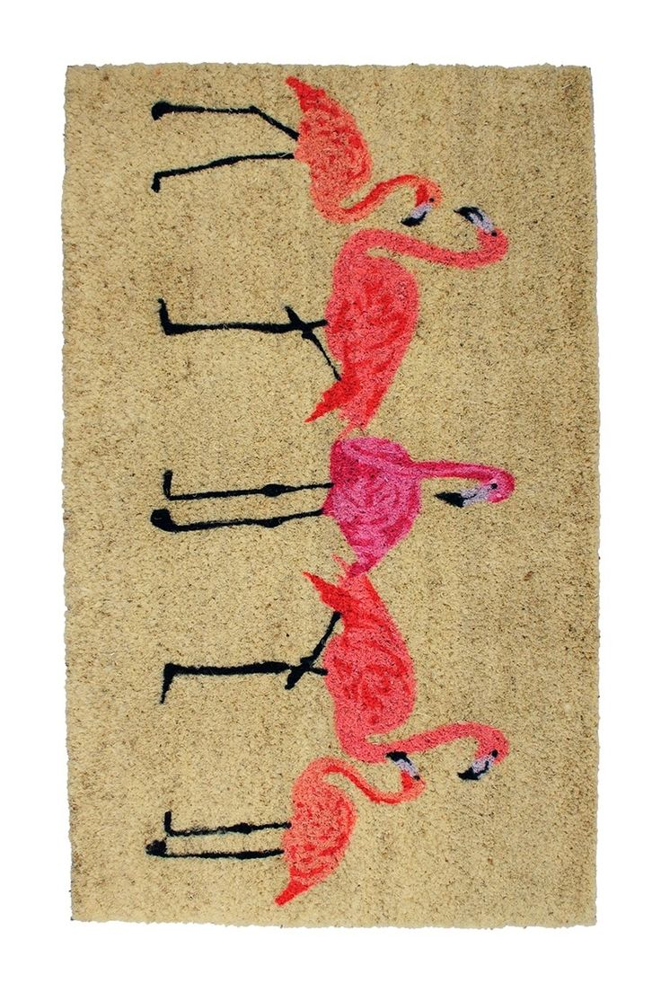 Add a tropical touch to your home with this fun flamingo door mat!
