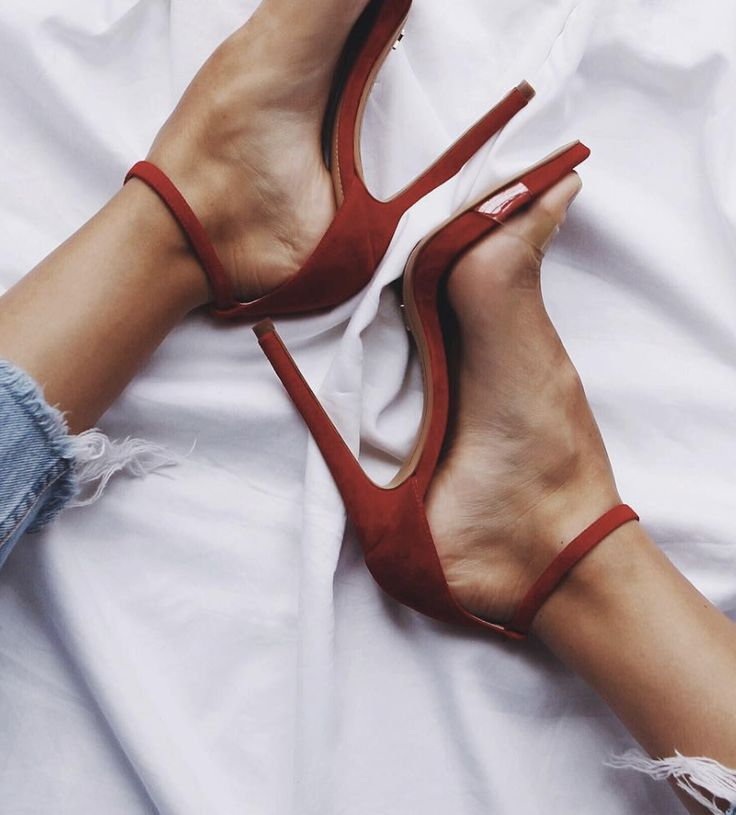 Candy red ankle strap high heels