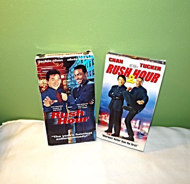 Rush Hour (1998) and Rush Hour 2 (2001), Jackie Chan, Chris Tucker, VHS movies