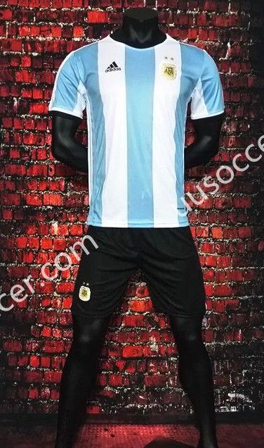 2016-17 Argentina Home Blue and White Soccer Uniform