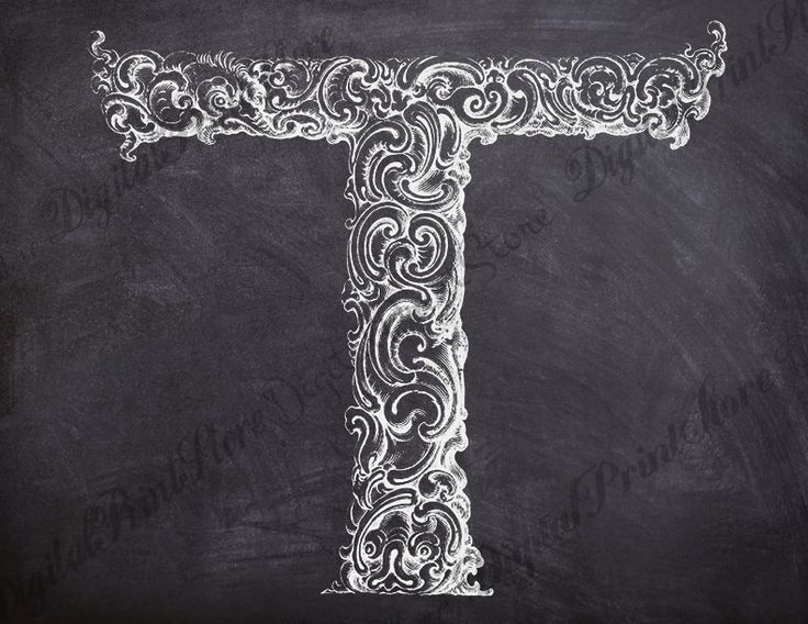 Letter T Floral Alphabet Chalkboard Letter T 002 Monogram Initial 4 Jpg-Png Transparent Black-White Embroidery Pattern Commercial Use by DigitalPrintStore on Etsy