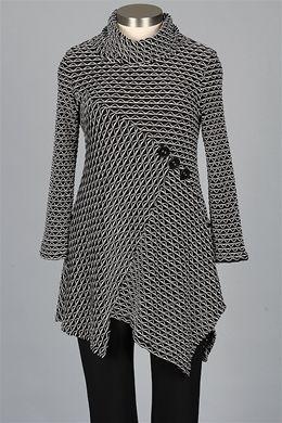 Farb-und Stilberatung mit www.farben-reich.com - I.C. Collection - Button Tunic - Black & White
