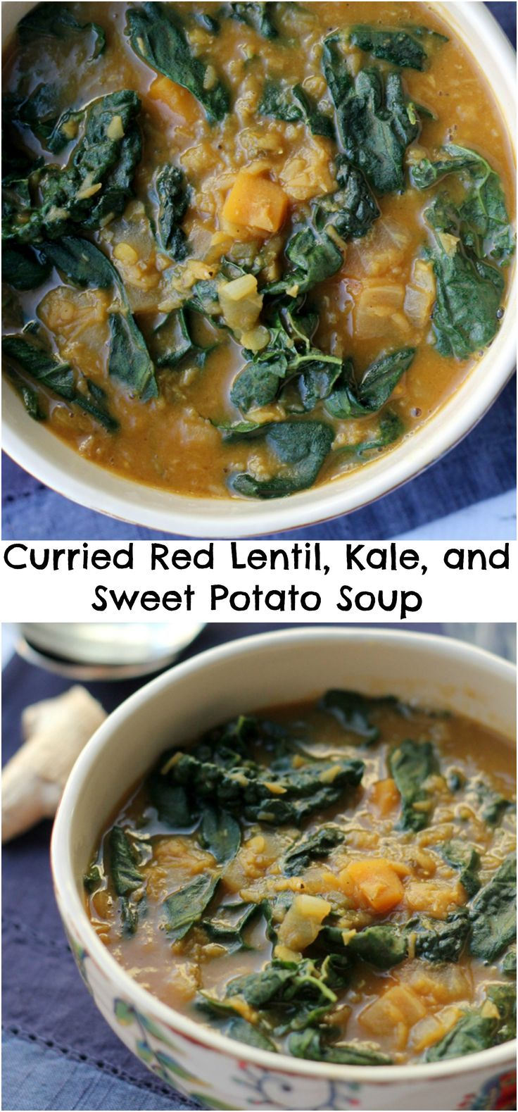 This curried red lentil, kale and sweet potato soup is the perfect way to warm up from the cold snowy outsides. It is full of rich, warm spices, sweet potatoes, and lentils for the ultimate satisfaction.