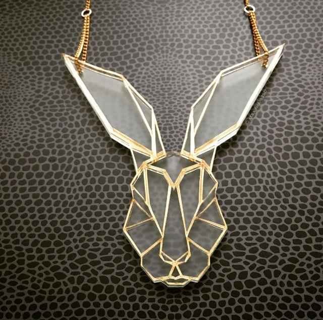 Hare necklace by Akira Amani London. #handmade #jewelry #jewelrydesign #akiraamani #gold #rabbit #necklace