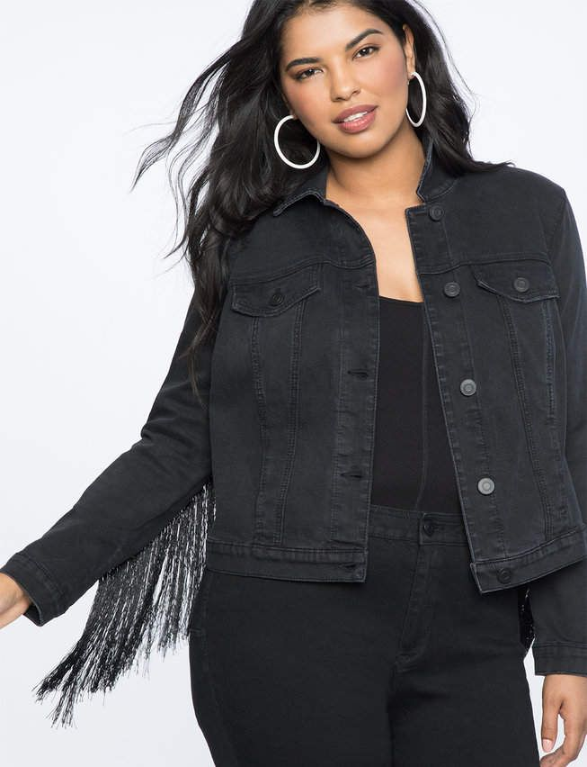 Fringe Denim Jacket | Women's Plus Size Coats + Jackets