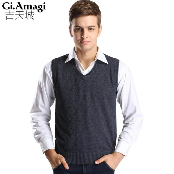 Waistcoat Men Autumn Winter Casual Cashmere Cotton Men Sleeveless Sweater Men 's Wool Vest Fashion Knitted