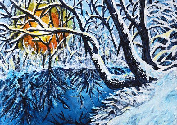 Snow landscape original acrylic painting Study 8