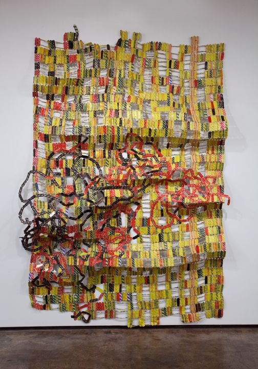 El Anatsui- Bukpa Old Town, Aluminum and copper wire, 120 x 84 inches